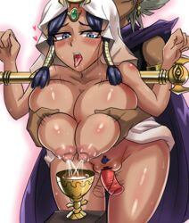 1boy big_breasts black_hair blue_eyes breasts brother_and_sister dark_skin dildo egyptian female incest iojkmn isis_ishtar lactation long_hair marik_ishtar milk nude pussy silver_hair tagme vibrator yami_marik yu-gi-oh!