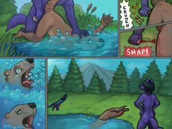 anthro asphyxiation balls bleeding blood canine castration cock_and_ball_torture comic death drowning english_text forced fur furry gore horror lenexwants male mustelid nature nude otter restrained rope shocked text violence water wolf