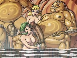 2girls artist_request bath blonde_hair breasts fado fat_man fellatio foreskin goron green_hair huge_cock mixed_bathing nikcesco nintendo nipples nude ocarina_of_time oral penis saria the_legend_of_zelda uncensored wet