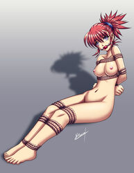 ball_gag barefoot beige_skin bondage breasts color digimon digimon_tamers female female_only gag gagged hair human nipples nude open_eyes pink_nipples purple_eyes red_hair rika_nonaka rope round_ears sitting solo