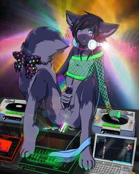 anthro computer cum cute deck disco dj feline femboy fishnet fur ghostblanketboy gloves glowing green headphones innocent laptop lights male masturbation panties penis polkadot purple rainbow rave seed solo stick top underwear western_art zephyr