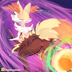 1girl animal_ears anus artist_name ass back big_tail black_fur blush braixen breasts broom_riding canine eyelashes female female_only fire fox_ears fox_tail from_behind furry half-closed_eyes logo looking_away lumineko masturbation nintendo no_humans nude open_mouth orange_fur patreon patreon_username pokemon pokemon_(creature) pokemon_xy purple_background pussy pussy_juice red_eyes signature simple_background solo spread_legs stick tail text uncensored url watermark web_address wet white_fur yellow_fur