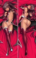 ass bare_shoulders bed_sheet breasts brown_hair butt_crack dakimakura dark_skin elbow_gloves female female full_body gloves hair_ribbon high_heels hips leotard lilith-soft looking_at_viewer looking_back mizuki_yukikaze multiple_views naughty_face nipples pink_eyes pregnant ribbon shiny shiny_skin small_breasts smile taimanin_(series) taimanin_yukikaze tan thong_leotard tongue tongue_out twintails very_long_hair wedgie