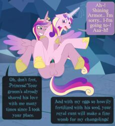 bantam english_text equine female friendship_is_magic hooves horn horse impregnation yuri magic my_little_pony penetration penis pony princess_cadence_(mlp) pussy queen_chrysalis_(mlp) rape sex vaginal_penetration vaginal_penetration alicorn wings