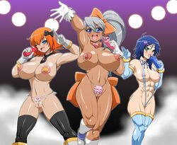 3girls abs bakugan bakugan_gundalian_invaders bakugan_new_vestroia black_legwear blue_eyess blue_gloves blue_hair blue_legwear blush breasts dark_skin dildo earrings elbow_gloves fabia_sheen fundoshi gloves green_eyess grey_gloves hair_ornament hair_ribbon heart hokuto huge_breasts julie_makimoto leg_lift legwear long_hair mira_fermin multiple_girls muscle navel nipples open_mouth orange_hair pasties pink_thong ponytail short_hair silver_hair sling_bikini smile thong topless wink