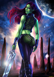 1girl alien ass butt dat_ass female gamora green_skin guardians_of_the_galaxy latex long_hair looking_back marvel red_eyes red_hair see-through shadman sheer skin_tight skintight smile solo standing sword therealshadman tight_clothes weapon