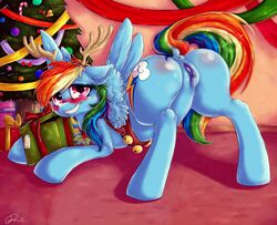 anus ass bell blush christmas dimwitdog equine female friendship_is_magic holidays horse mammal my_little_pony presenting pussy rainbow_dash_(mlp) uncensored