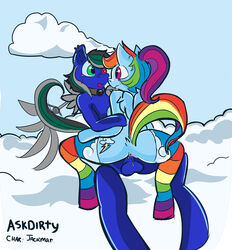 2016 anthro anthrofied askdirty ass balls biped blonde_hair blue_balls blue_breasts blue_ears blue_fur blue_hair blue_penis blue_sky blue_wings breasts clothing cloud cloudscape cloudy_sky cum cum_inside cutie_mark dirtyscoundrel duo ear_piercing equine eyewear fan_character female friendship_is_magic fur green_eyes green_hair grey_hair hair hi_res jackmar legwear looking_at_another looking_at_partner male male/female mammal midair mostly_nude multicolored_clothing multicolored_hair multicolored_legwear multicolored_tail my_little_pony orange_hair outside pegasus penetration penis piercing ponytail purple_eyes purple_hair rainbow_clothing rainbow_dash_(mlp) rainbow_hair rainbow_legwear rainbow_tail rear_view red_hair sky smile vaginal_penetration vaginal_penetration wings