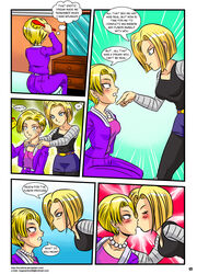 android_18 blonde_hair blue_eyess blush comic dragon_ball dragon_ball_gt dragon_ball_z kissing mirror necklace selfcest yuri