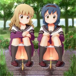 2girls censored furutani_himawari oomuro_sakurako outdoors panties peeing pussy school_uniform squat yuru_yuri