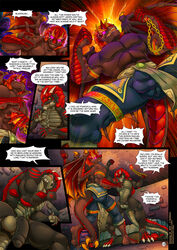 anthro balls black_penis bladerush_(character) bulge claws clothed clothing comic dialogue digital_media_(artwork) dragon english_text flaccid glowing glowing_eyes grey_balls horn humanoid_penis jewelry low-angle_view male muscular muscular_male necklace nude penis punch raghan scalie tanukiruno text toe_claws uncut vein worm's-eye_view