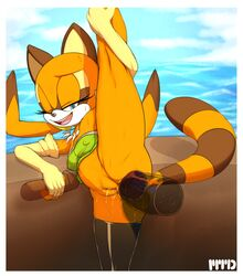 1girl anal anus arm_socks armsocks ass asshole bottom butt buttocks dat_ass dildo erect erect_nipples female fur furry leggings male marine_the_raccoon marthedog nipples open_mouth raccoon sega sex_toy smile smiling solo sonic_(series) sonic_the_hedgehog stretch stretched_out stretching sweat sweating tail uncensored wet