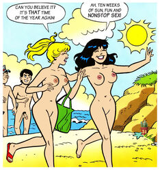 archie_comics beach betty_and_veronica betty_cooper breasts cactus34 jughead_jones penis pubic_hair pussy reggie_mantle veronica_lodge