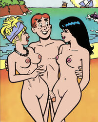 2girls archie_andrews archie_comics beach betty_and_veronica betty_cooper breasts cactus34 nude penis pussy threesome veronica_lodge