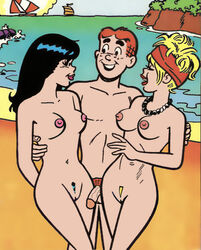 2girls archie_andrews archie_comics beach betty_and_veronica betty_cooper breasts cactus34 nude penis pubic_hair pussy veronica_lodge