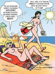 2girls archie_comics beach betty_and_veronica betty_cooper black_hair blonde_hair breasts cactus34 cum cum_on_breasts nude pussy veronica_lodge