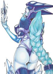 armor ass blue_hair blue_skin braid female league_of_legends lingerie lissandra sideboob thong