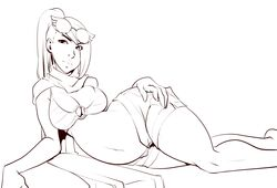 black_and_white fiora_laurent glasses hair_over_one_eye league_of_legends lying_on_side ponytail pregnant scarf sketch svenspronfest swimsuit tagme