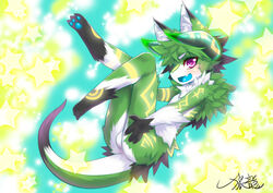 animal_ears areola ass balls black_fur blush body_markings chest_tuft claws ear_fluff fangs fluffy fur glowing green_fur green_hair hair horn langlong legs_up male markings nipples open_mouth pawpads paws purple_eyes short_hair signature simple_background solo star tuft unknown_character unknown_species white_fur wolflong young