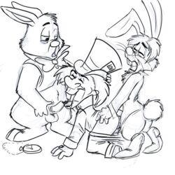 alice_in_wonderland beastiality disney gay human mad_hatter march_hare rabbit white_rabbit yaoifairy zoofilia