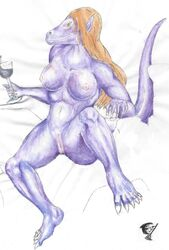 alcohol anthro beverage blonde_hair breasts drink female hair long_hair nipples nude phantom_janitor purple_body pussy scalie smile solo taisha