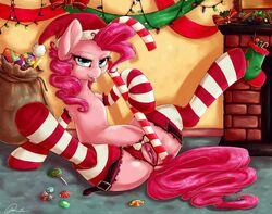 candy candy_cane christmas clitoris clothing crotchless_panties dimwitdog equine female friendship_is_magic hair hat holidays mammal my_little_pony panties pinkie_pie_(mlp) presenting pussy santa_hat solo spread_legs spreading underwear