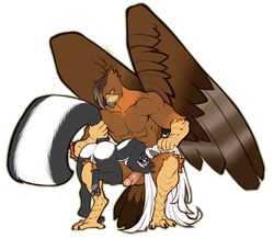 anthro ass avian balls big_dom_small_sub domination duo erection faint female gryphon humanoid_penis larger_male male male_domination mammal muscular muscular_male nude penis pussy retracted_foreskin size_difference skunk straight tail_pull uncut