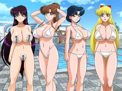 4girls artist_request bikini bishoujo_senshi_sailor_moon black_hair blonde_hair breasts brown_hair cameltoe character_request cleavage erect_nipples large_breasts maebari prayer_seal sailor_jupiter sailor_mars sailor_mercury sailor_venus smile swimsuit