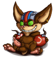 balls big_ears cum ear_piercing emenius erection headgear helmet league_of_legends looking_at_viewer paws penis piercing sitting smile spread_legs spreading yordle ziggs