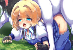 blonde_hair blue_eyes blush doggy_style female frederica_irving horse ichina_(osabakitina) saliva sekaiju_no_meikyuu sex short_hair solo_focus tears zoophilia