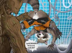 2014 anus balls cables dialog gay grin groot male mammal marvel narse raccoon rocket_raccoon suit text wires