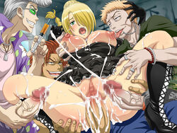areolae beelzebub_(manga) blonde_hair blush breast_grab censored cum cum_in_pussy cum_inside cum_on_breasts ejaculation gangbang green_eyess group_sex hair_over_one_eyes hilda_(beelzebub) large_breasts licking lolita_channel nipples open_mouth penis ring sex tongue tongue_out vaginal_penetration vaginal_penetration