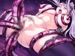 blush breast_squeeze breasts censored cum game_cg hair_ribbon himekishi_lilia leg_spread lilia_eberwein long_hair penetration pubic_hair purple_hair rape spread_legs tentacle thighhighs