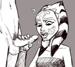 ahsoka_tano clone_wars cum cum_drip cum_in_mouth cum_on_face greyscale jedi male_pubic_hair monochrome padawan penis_hold star_wars surprised togruta tourbillon