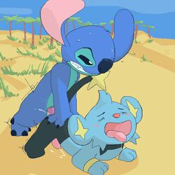 anal argon_vile crossover cum disney furry gay lilo_and_stitch no_humans penis pokemon shinx stitch