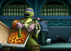april_o'neil areola breasts donatello erect_nipples fellatio human interspecies nipples penis pizza red_hair scalie teenage_mutant_ninja_turtles tmnt_2012 wicka