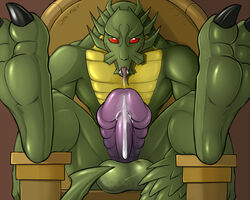2012 abs balls biceps claws cum cum_string dragon dreiker erection jackie_chan_adventures looking_at_viewer male male_only nude open_mouth paws pecs penis presenting red_eyes shendu solo teeth tongue