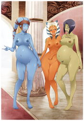 3girls aayla_secura ahsoka_tano alien barefoot barriss_offee blue_skin breasts crimeglass feet female green_skin highres large_breasts milf mirialan multiple_girls nipples nude pregnant puffy_nipples ring smile star_wars toes togruta twi'lek uncensored x-teal