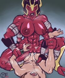 4_arms 4_eyes 4_fingers abs alien alien_girl areolae arm_wraps ben_10 ben_10:_omniverse ben_tennyson biceps big_lips breasts breath clitoris domination duo faceless_male female female_on_top femdom hairless_pussy headgear helmet large_breasts larger_female looma_red_wind male malesub multiple_arms multiple_eyes muscles muscular_female nipples perky_breasts pussy rai_ou red_skin sex size_difference smaller_male smile solo_focus straight sweat tetramand vaginal_penetration
