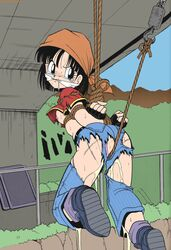 bondage crying dragon_ball_gt exposed gag pan peeing rape ripped_clothes rope son_pan tagme