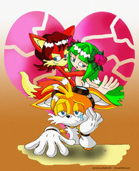 anthro color cosmo_the_seedrian female fiona_fox fox fur furry interspecies male multiple_females nude seedrian sega sonic_(series) tails