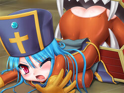 backless blue_hair blush bodysuit breasts cannibox cross dragon_quest dragon_quest_iii erect_nipples game_over gloves hat monster priest_(dq3) rape red_eyess tear thighs torn_clothes trubka vore wince
