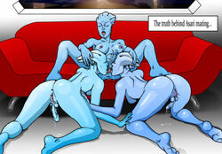 3girls 3some alien asari blue_skin breasts couch futa_on_futa futanari licking mass_effect pussy_licking threesome