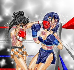 black_eyes black_hair blue_hair botan boxer boxing boxing_gloves boxing_ring boxing_trunks bruises deviantart female hair hairband human inuyasha light mouthguard patriot1776 punch rin vest
