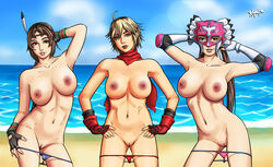 3girls abs areolae arms_raised beach big_breasts black_gloves blank_expression blonde_hair blue_panties blue_sky braided braided_ponytail breasts brown_eyes brown_hair clouds elbow_gloves elbow_pads erect_nipples erotic_pose feathered_headband feathers fingerless_gloves hairband hand_behind_head hand_on_panties hand_on_thigh hands_behind_head hands_on_hips happy headband jaycee julia_chang leo_kliesen long_hair long_twintails luchadora mask medium_breasts michelle_chang milf mother_and_daughter multiple_girls naked namco navel nipples nude ocean panties panties_around_legs panties_around_thighs pink_panties ponytail pussy radprofile raised_arms red_gloves red_panties red_scarf sand scarf shaved_pussy shaven shore short_hair sky smile smiling stomach sunshine teal_eyes tekken tekken_tag_tournament_2 thighs thong twintails vagina water white_gloves wrestler wristband