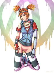 armor borderlands_2 clothed gaige green_eyess h1kar1ko looking_at_viewer mechromancer no_panties red_hair thighhighs