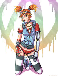 armor borderlands_2 clothed gaige green_eyess h1kar1ko looking_at_viewer mechromancer panties red_hair thighhighs