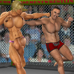1boy 3d abuse beaten blonde_hair boxing cage female fight fist gloves muscle punch wrestling