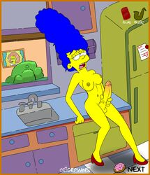 animated blue_hair bush futanari gijoepwns heels high_heels kitchen marge marge_simpson masturbation nude refrigerator sink the_simpsons window yellow_skin