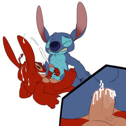 alien anal anal_sex cartoon cum cum_inside cumshot disney furry gay handjob jerseydevil_(artist) leroy lilo_and_stitch male no_humans orgasm penetration penis stitch
